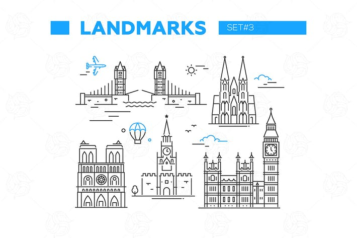 Thumbnail for World Famous Landmarks - line design icons set