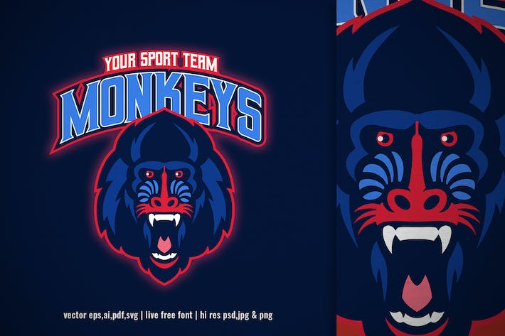 Thumbnail for sport logo of mandrill monkey head