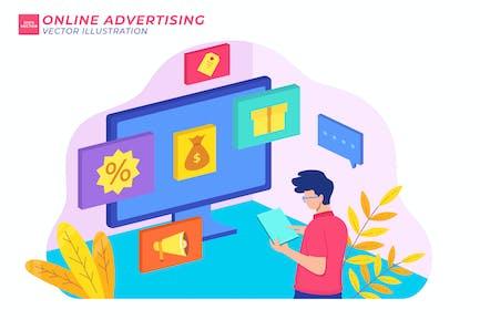 Isometrische Illustration der Online-Werbung