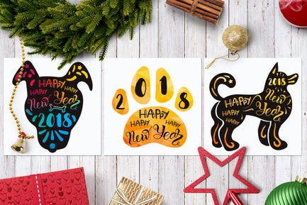 Alegre Año Novedad 2018 Con Perro