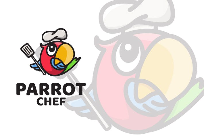 Thumbnail for Parrot Chef Cute Logo Template