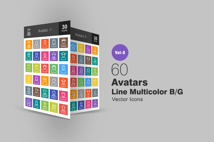Thumbnail for 60 Avatars Line Multicolor B/G Icons