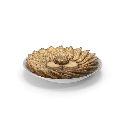 Plate with Organised Crackers with Various Seeds