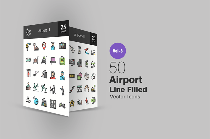 50 Иконки линии аэропорта заполнены