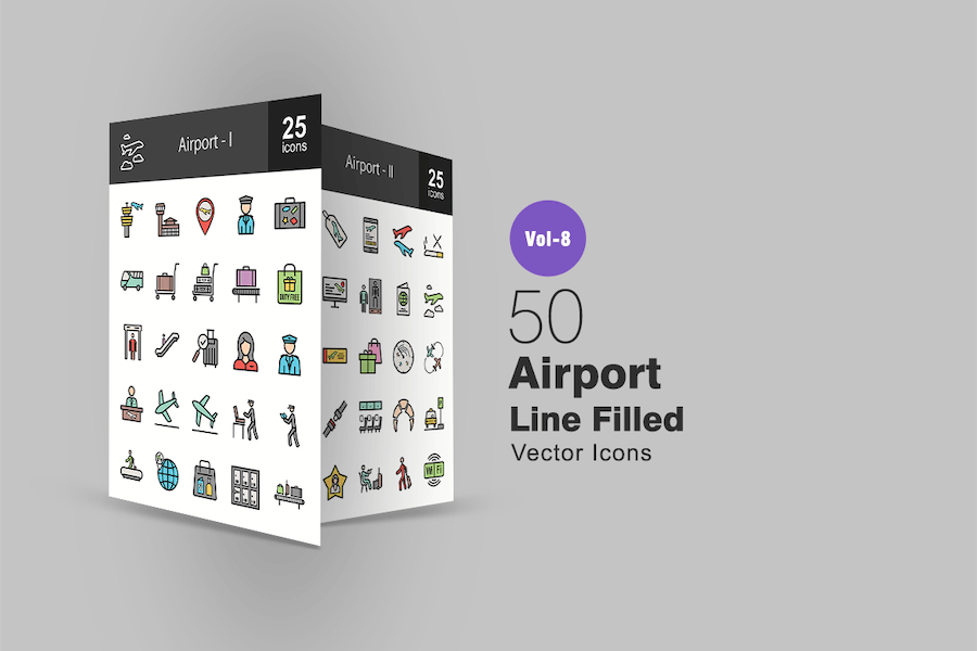 50 Airport Line Filled Icons