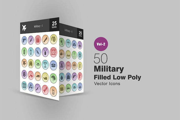 Thumbnail for 50 Military Filled Low Poly Icons