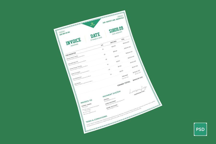 Cannabis Hemp Oil Products Invoice & Letterhead