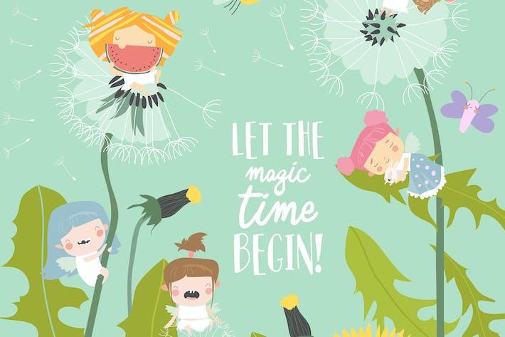 Thumbnail for Cute little fairies flying above dandelions.