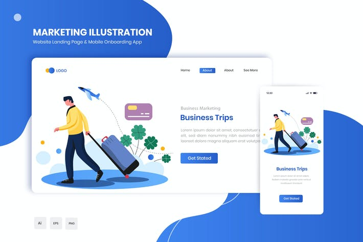 Thumbnail for Business Trips Flat Landing & Onboarding App