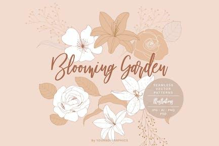 Blühender Garten Blumenmuster
