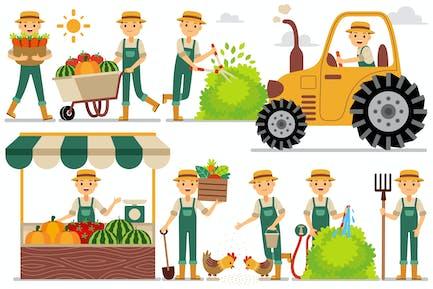 Farmer Profession Characters Set
