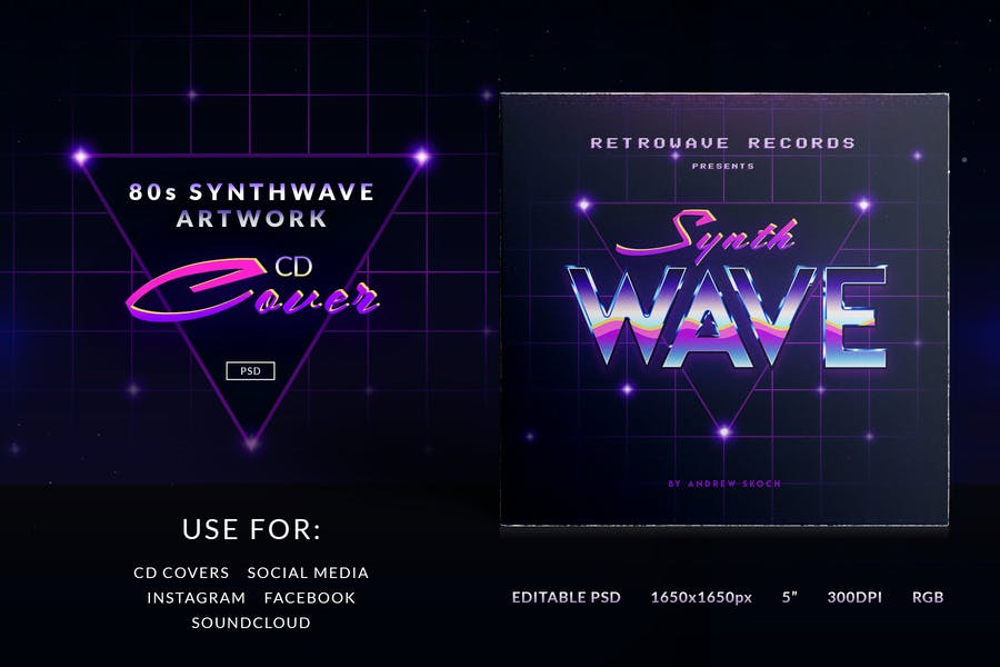 80s Synthwave Cover Artwork