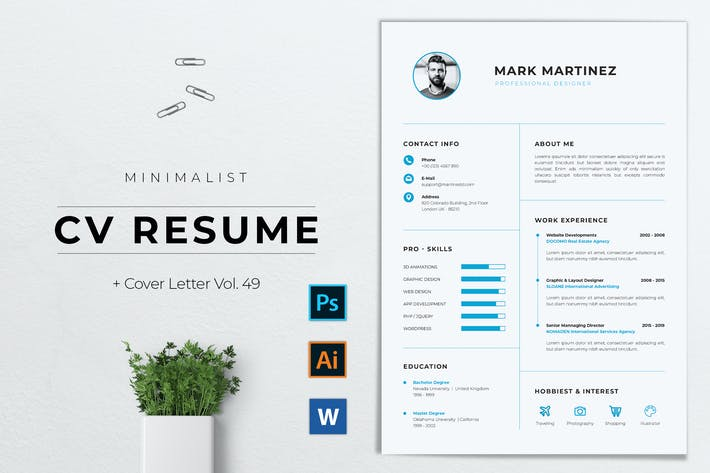 Thumbnail for Minimalist CV Resume Vol. 49