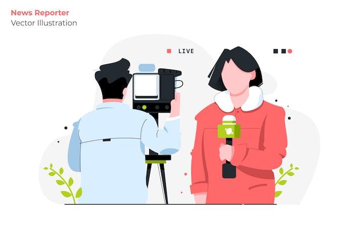 Thumbnail for News Reporter - Vector Illustration