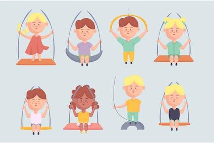 Kleine Kinder, die auf Seil-Illustrations-Set schwingen