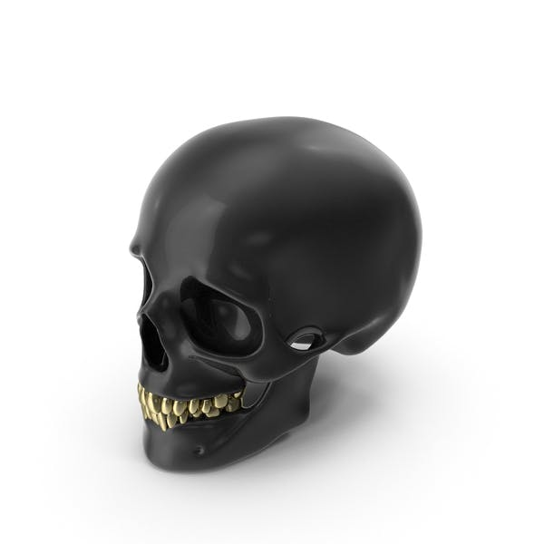 Black Skull with Gold Teeth