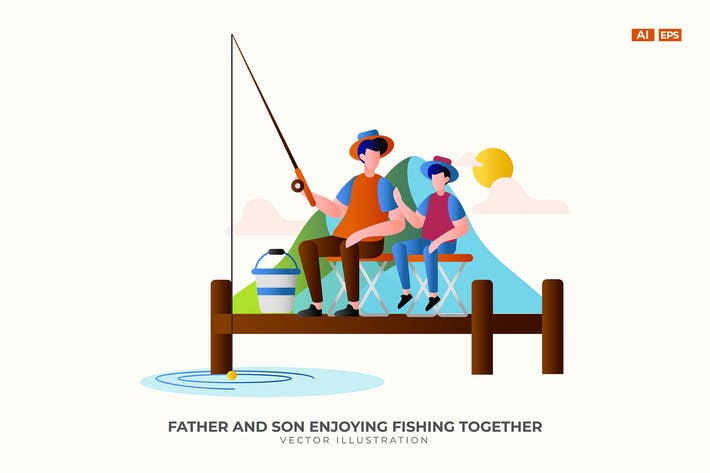 Thumbnail for Father and Son Enjoying Fishing Together