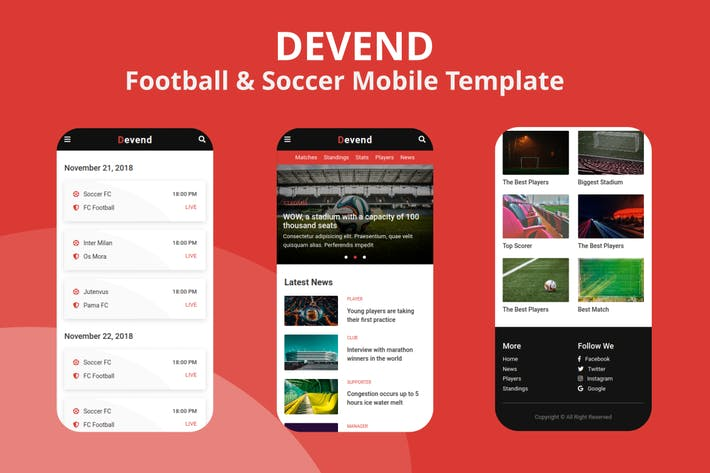 Thumbnail for Devend - Football & Soccer Mobile Template
