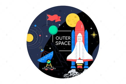 Outer space - flat design style web banner