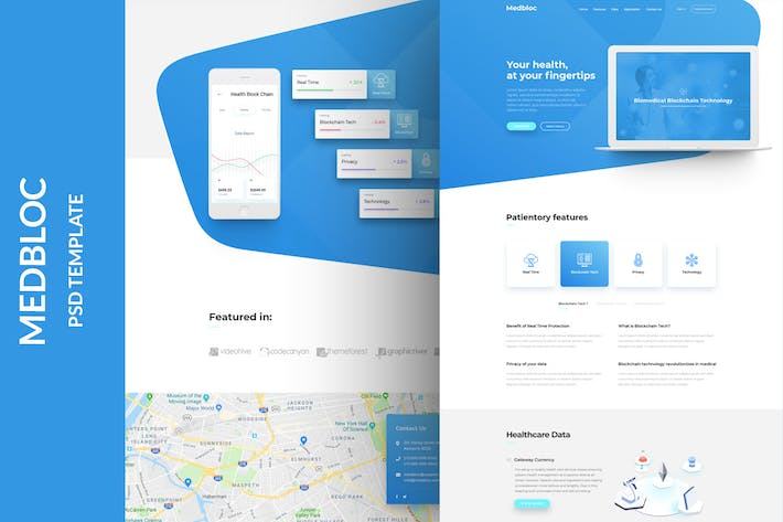 Cover Image For Medbloc - PSD Landing Page