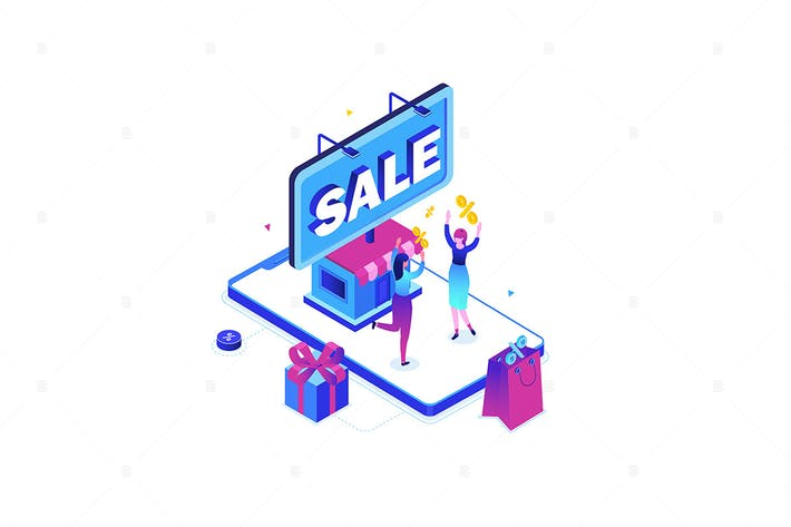 Thumbnail for Big sale - modern colorful isometric illustration