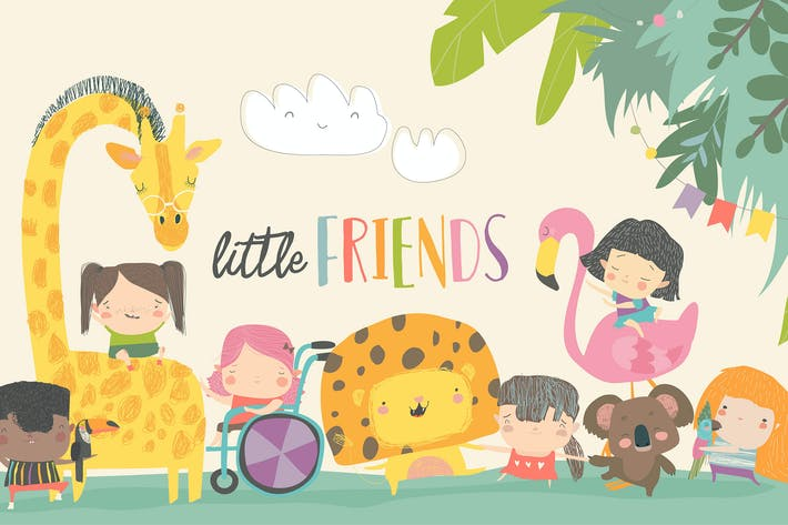 Cute children with cartoon animal. Happy friends.