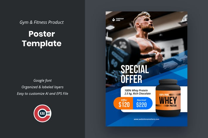 Thumbnail for Gym & Fitness Product Poster Template