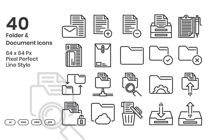 40 Folder & Document Icons Set - Line
