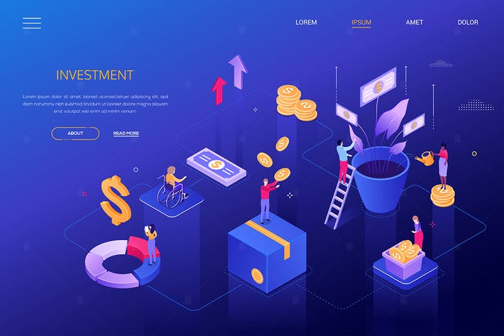 Thumbnail for Financial growth - colorful isometric banner
