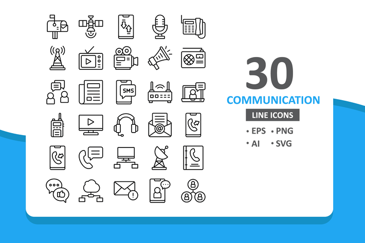 Thumbnail for 30 Communication Icons - Line