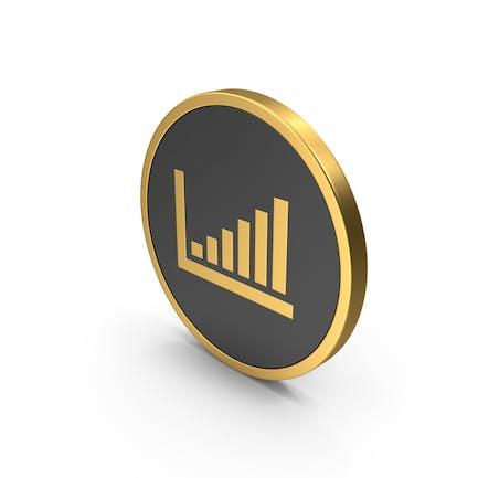 Gráfico de barras Icono dorado