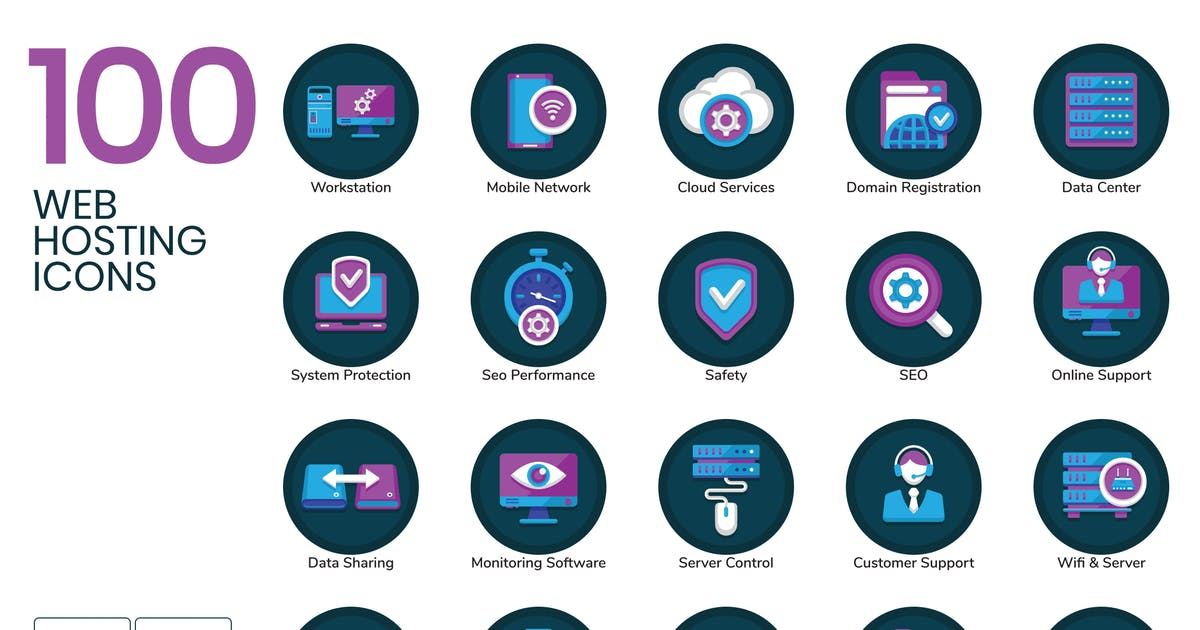 Download 100 Web Hosting Flat Icons by Krafted