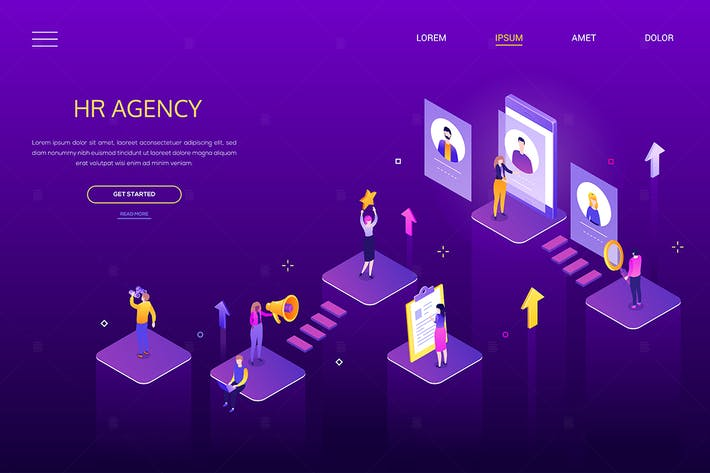 Thumbnail for HR agency - modern colorful isometric web banner