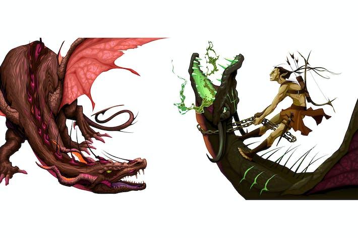 Thumbnail for Zwei isolierte Drachen