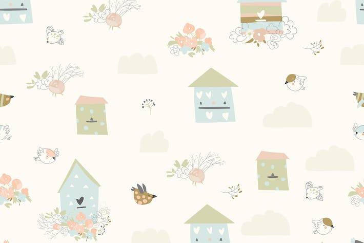 Thumbnail for Vector seamless pattern with flowers,birds and bir