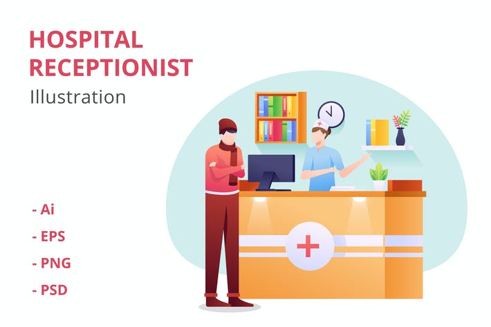 Hospital Receptionist Illustration