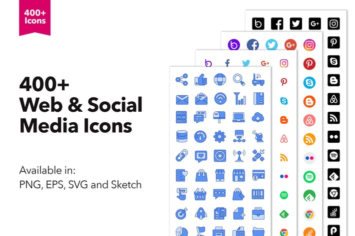 Thumbnail for 400+ Social Media & Web Icons in Sketch, EPS, SVG